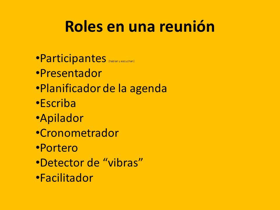 Roles en una reunión Participantes (hablan y escuchan) Presentador