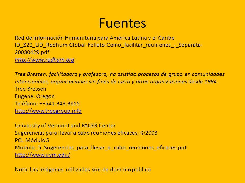 Fuentes Red de Información Humanitaria para América Latina y el Caribe