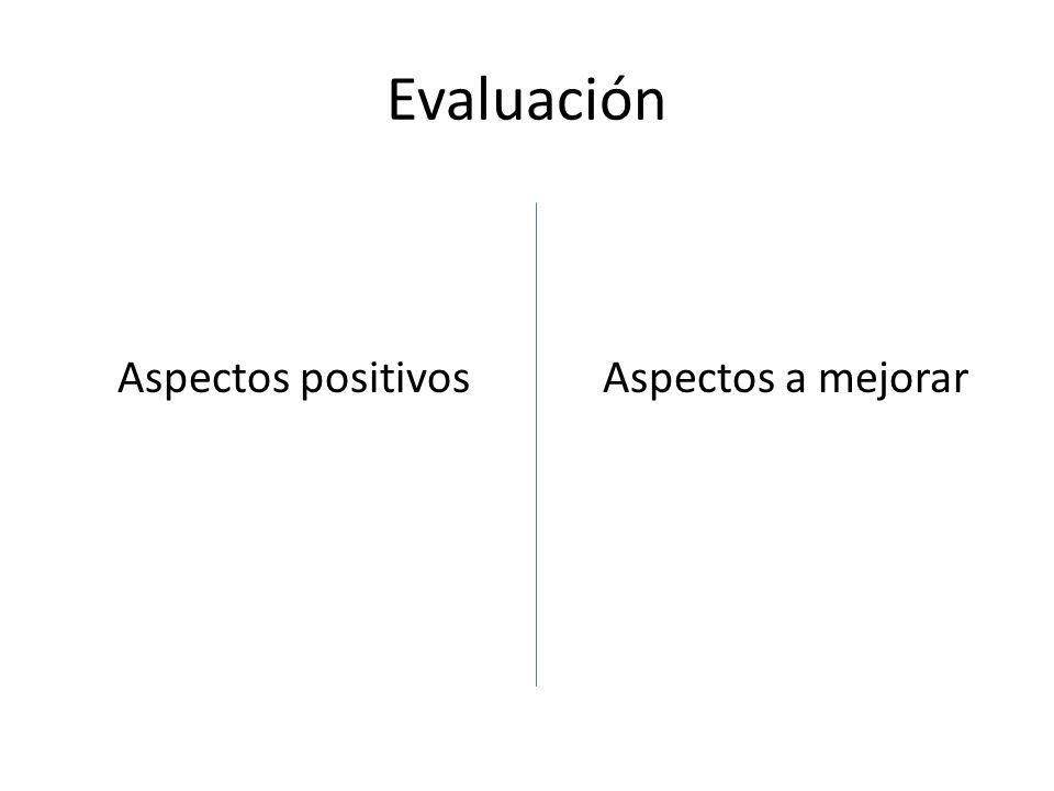 Evaluación Aspectos positivos Aspectos a mejorar