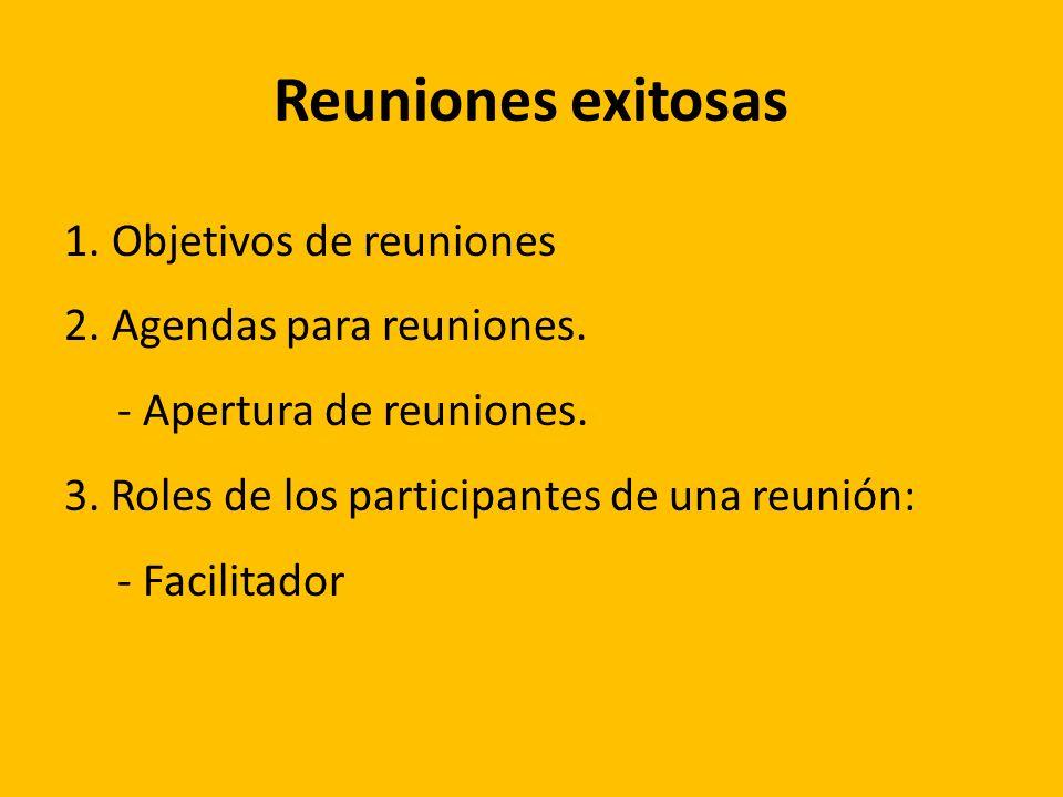 Reuniones exitosas Objetivos de reuniones Agendas para reuniones.