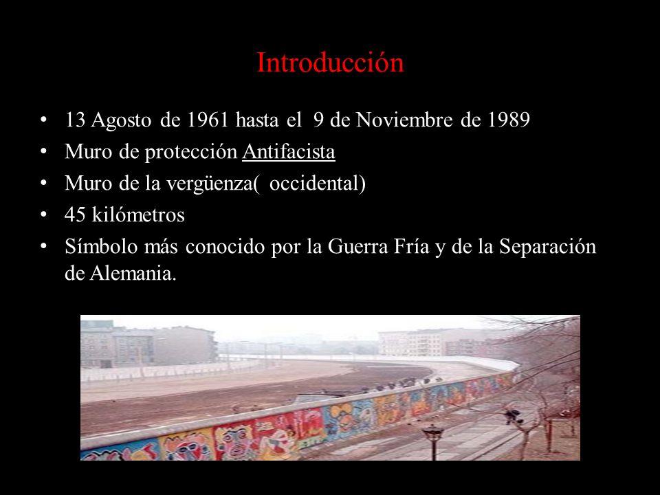 Introducción 13 Agosto de 1961 hasta el 9 de Noviembre de 1989