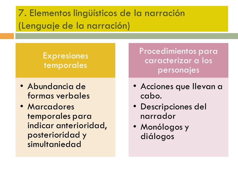 7. Elementos lingüísticos de la narración (Lenguaje de la narración)