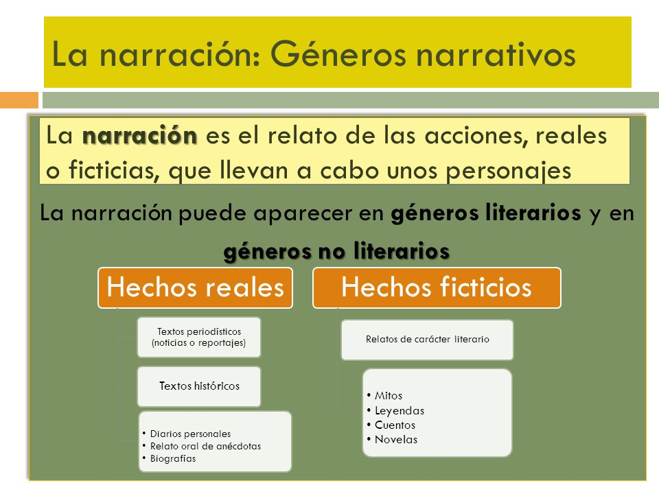 La narración: Géneros narrativos