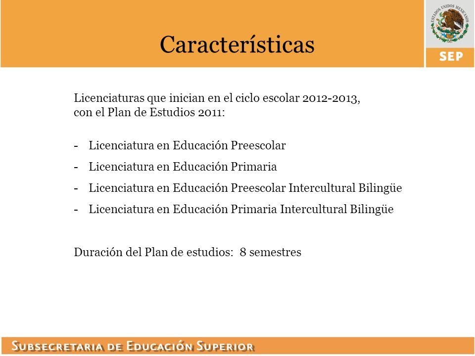 Características Licenciaturas que inician en el ciclo escolar 2012-2013, con el Plan de Estudios 2011:
