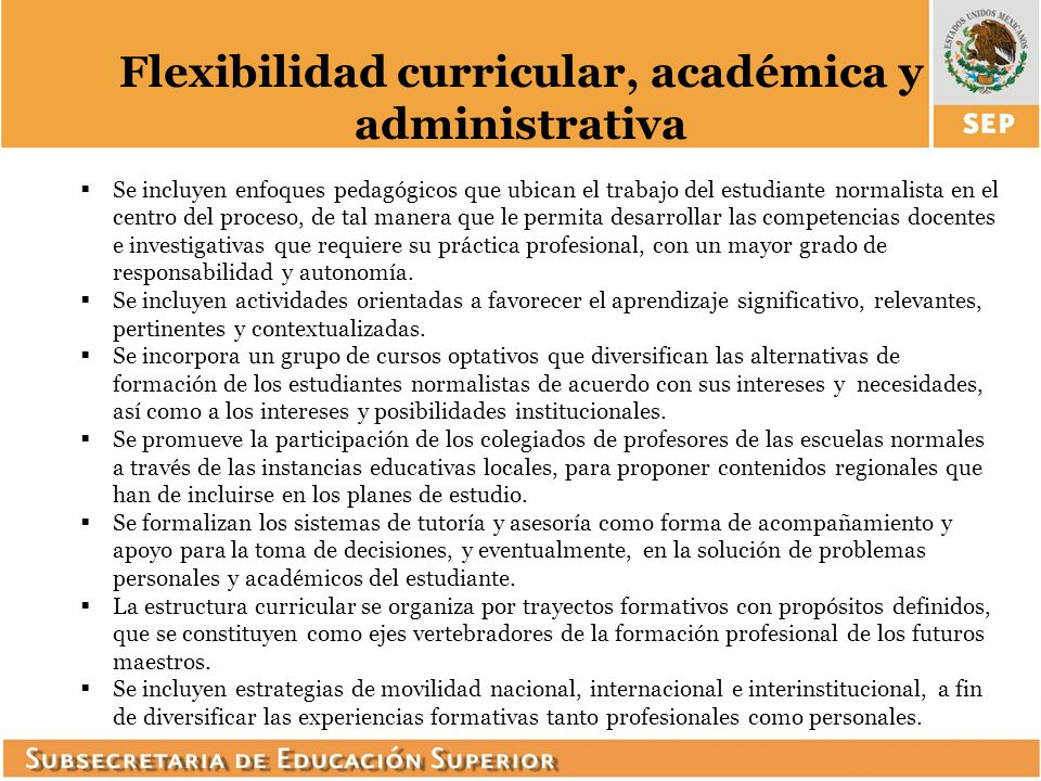 Flexibilidad curricular, académica y administrativa