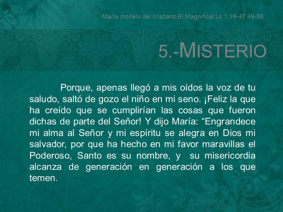María modelo del cristiano El Magnificat Lc 1,39-47.49-56