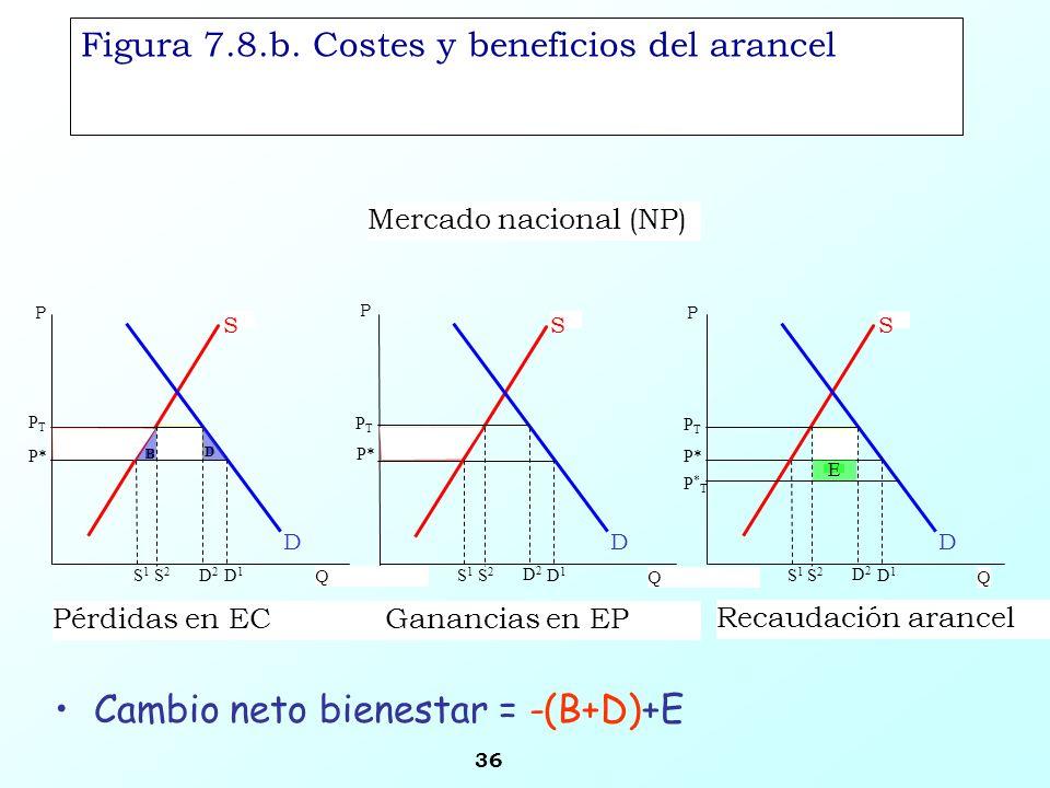 Figura 7.8.b. Costes y beneficios del arancel