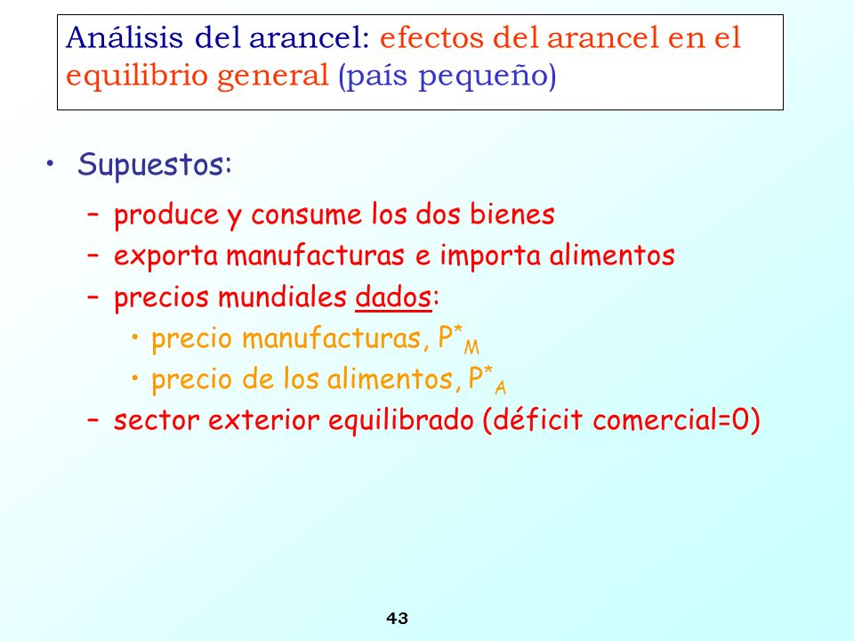 Análisis del arancel: efectos del arancel en el equilibrio general (país pequeño)