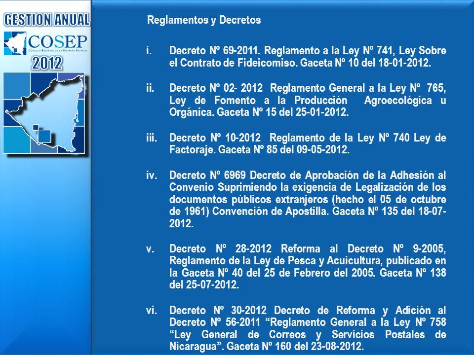 2012 GESTION ANUAL Reglamentos y Decretos