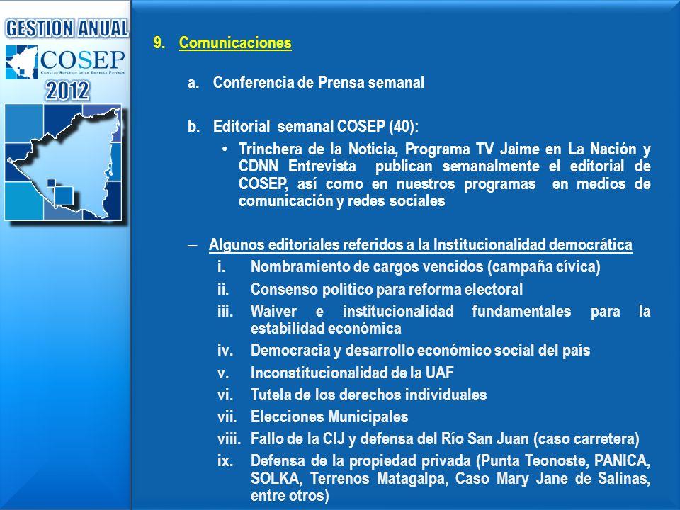 2012 GESTION ANUAL Comunicaciones Conferencia de Prensa semanal