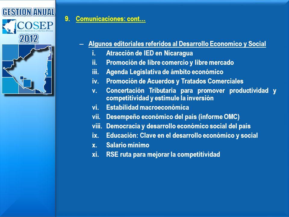 2012 GESTION ANUAL Comunicaciones: cont…