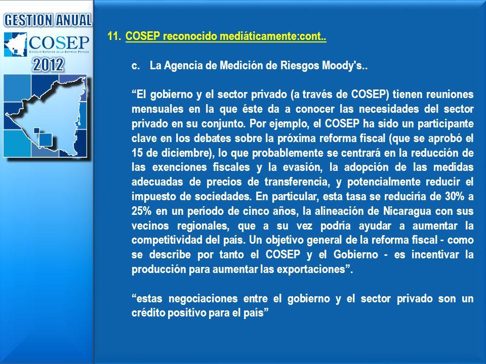 2012 GESTION ANUAL COSEP reconocido mediáticamente:cont..