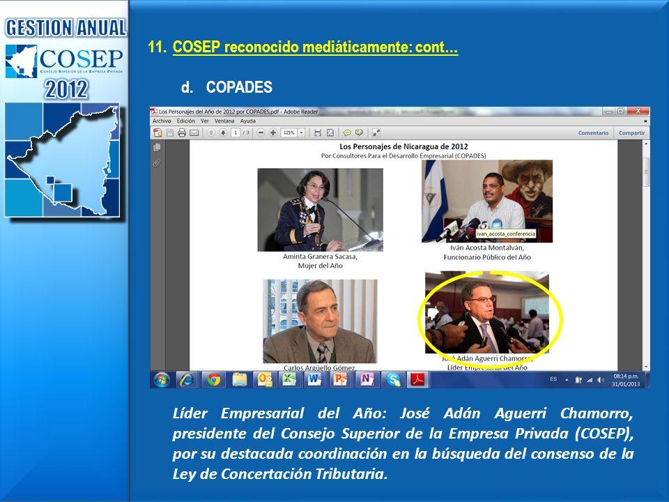 2012 GESTION ANUAL COSEP reconocido mediáticamente: cont… COPADES