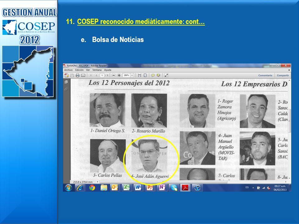 2012 GESTION ANUAL COSEP reconocido mediáticamente: cont…