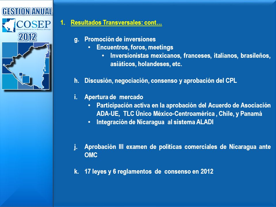 2012 GESTION ANUAL Resultados Transversales: cont…
