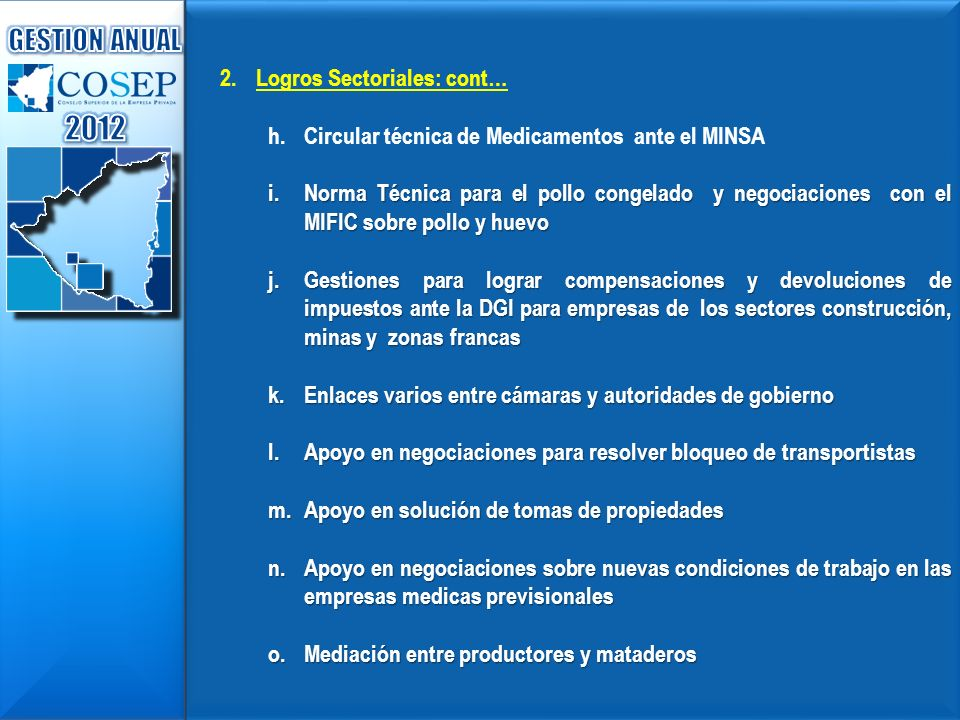 2012 GESTION ANUAL Logros Sectoriales: cont…