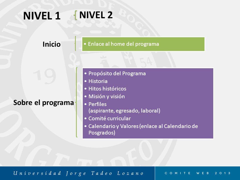 NIVEL 1 NIVEL 2 Inicio Sobre el programa Enlace al home del programa