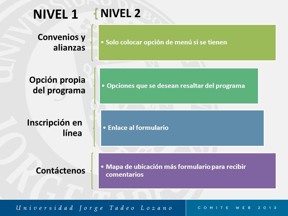 NIVEL 1 NIVEL 2 Convenios y alianzas Opción propia del programa