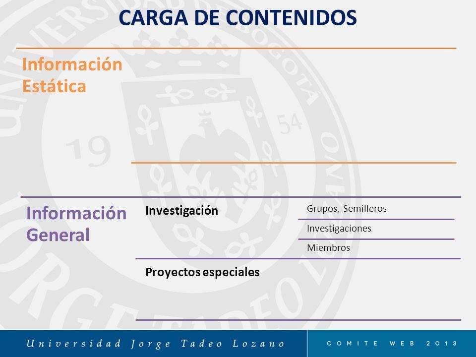 CARGA DE CONTENIDOS Información Estática Información General