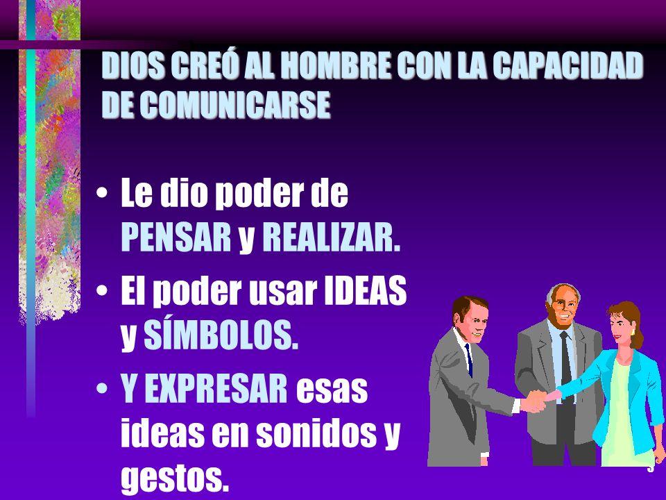 DIOS CREÓ AL HOMBRE CON LA CAPACIDAD DE COMUNICARSE