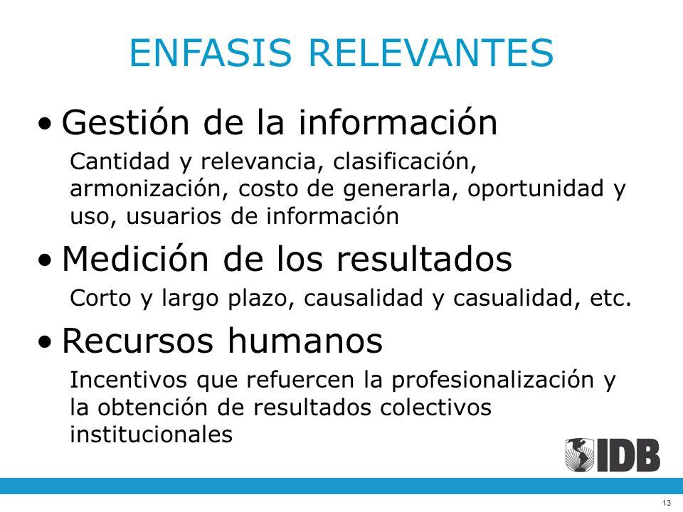ENFASIS RELEVANTES Gestión de la información