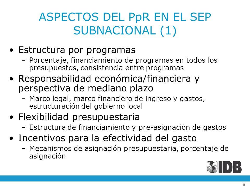 ASPECTOS DEL PpR EN EL SEP SUBNACIONAL (1)