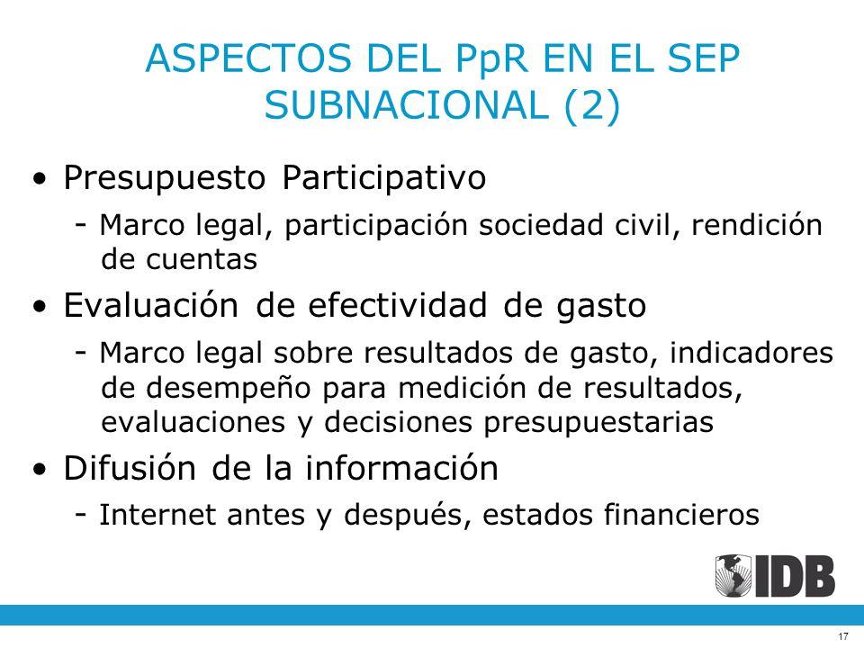 ASPECTOS DEL PpR EN EL SEP SUBNACIONAL (2)