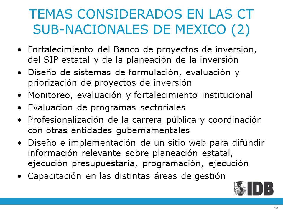 TEMAS CONSIDERADOS EN LAS CT SUB-NACIONALES DE MEXICO (2)