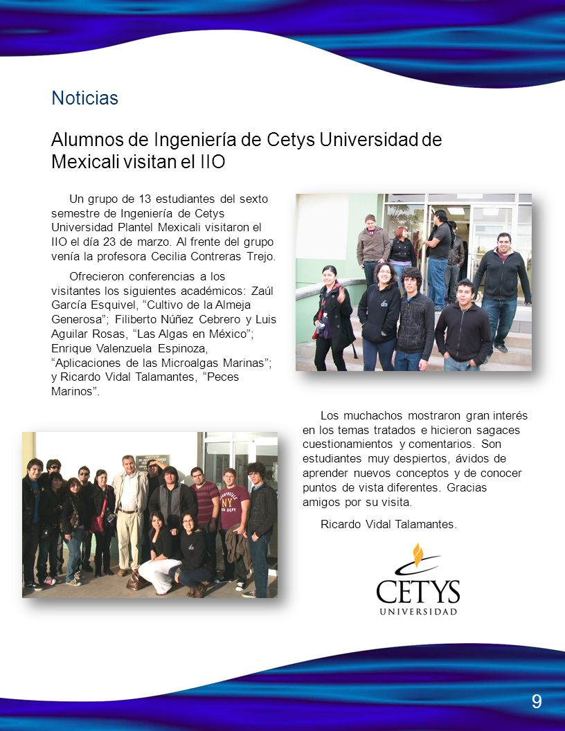 Alumnos de Ingeniería de Cetys Universidad de Mexicali visitan el IIO