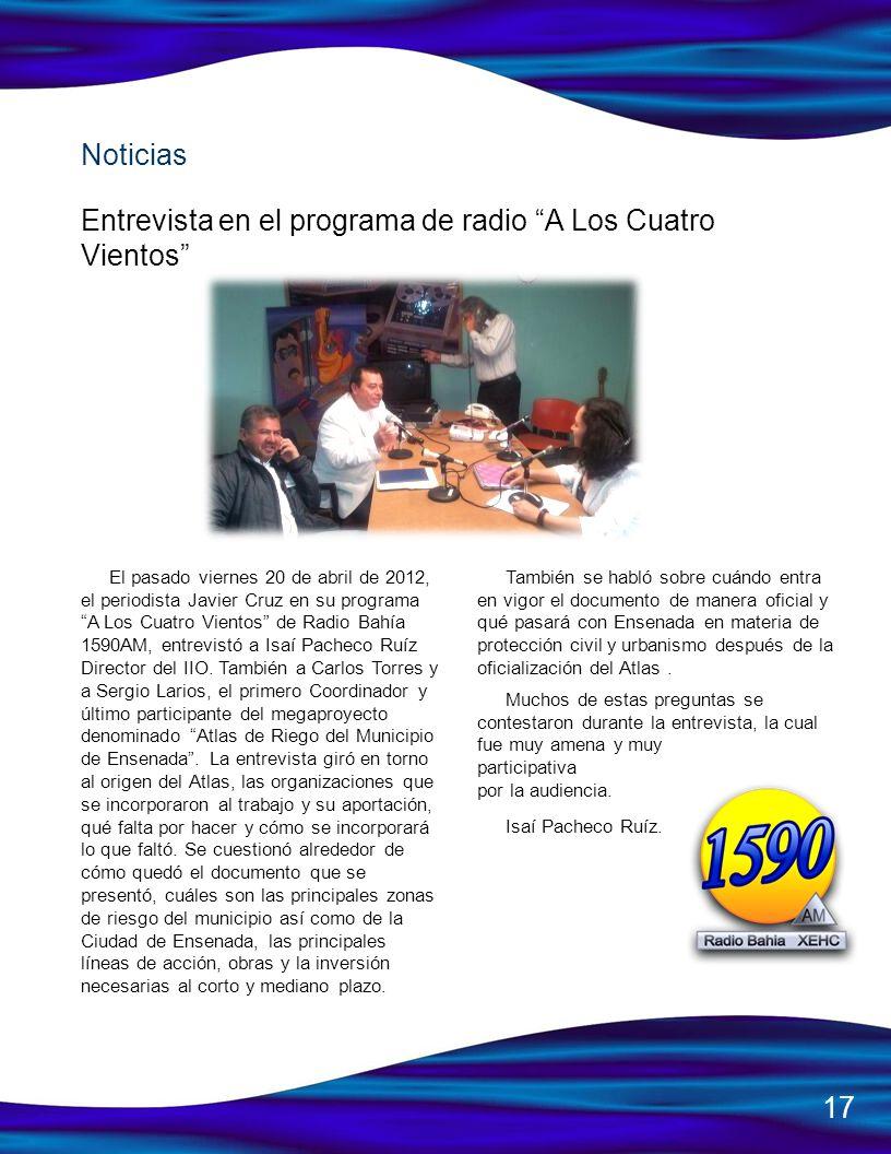 Entrevista en el programa de radio A Los Cuatro Vientos