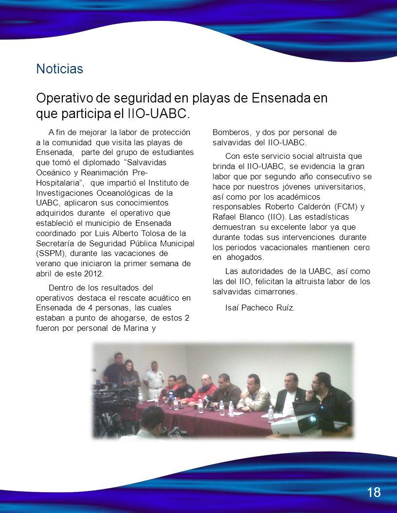 Noticias Operativo de seguridad en playas de Ensenada en que participa el IIO-UABC.