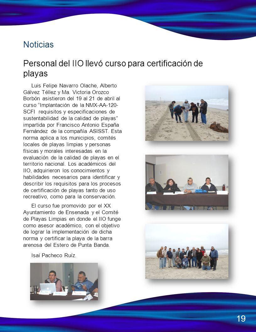 Personal del IIO llevó curso para certificación de playas