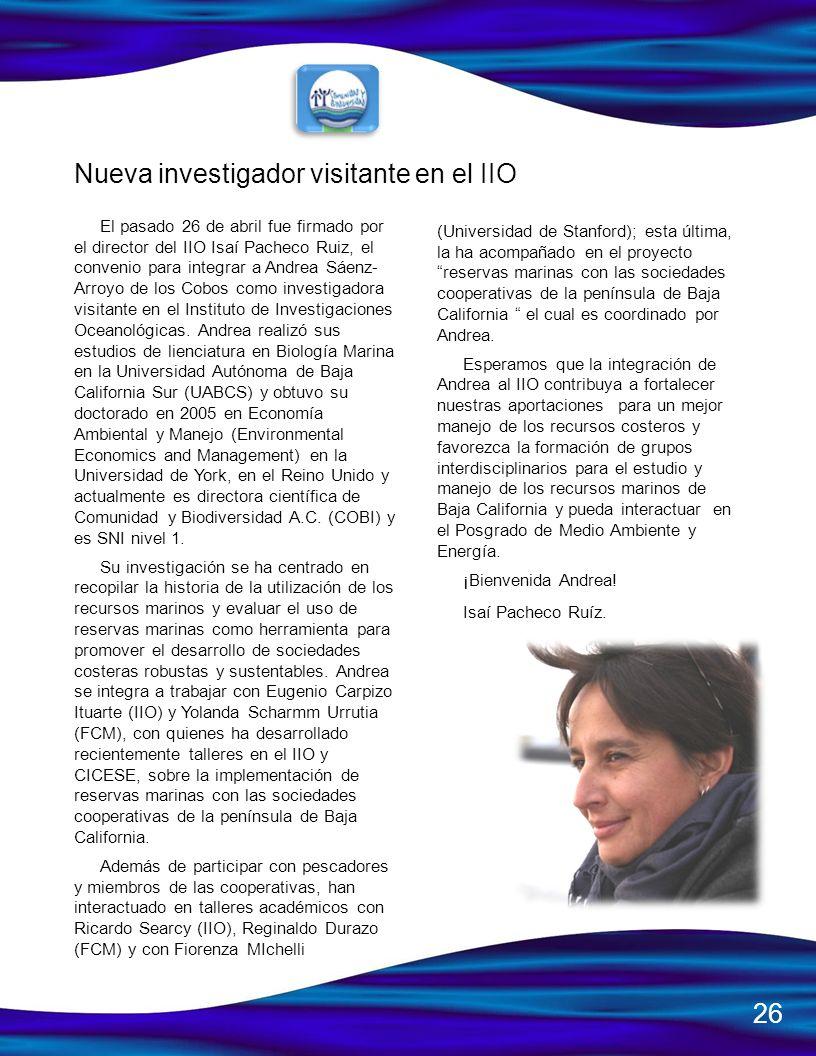 Nueva investigador visitante en el IIO