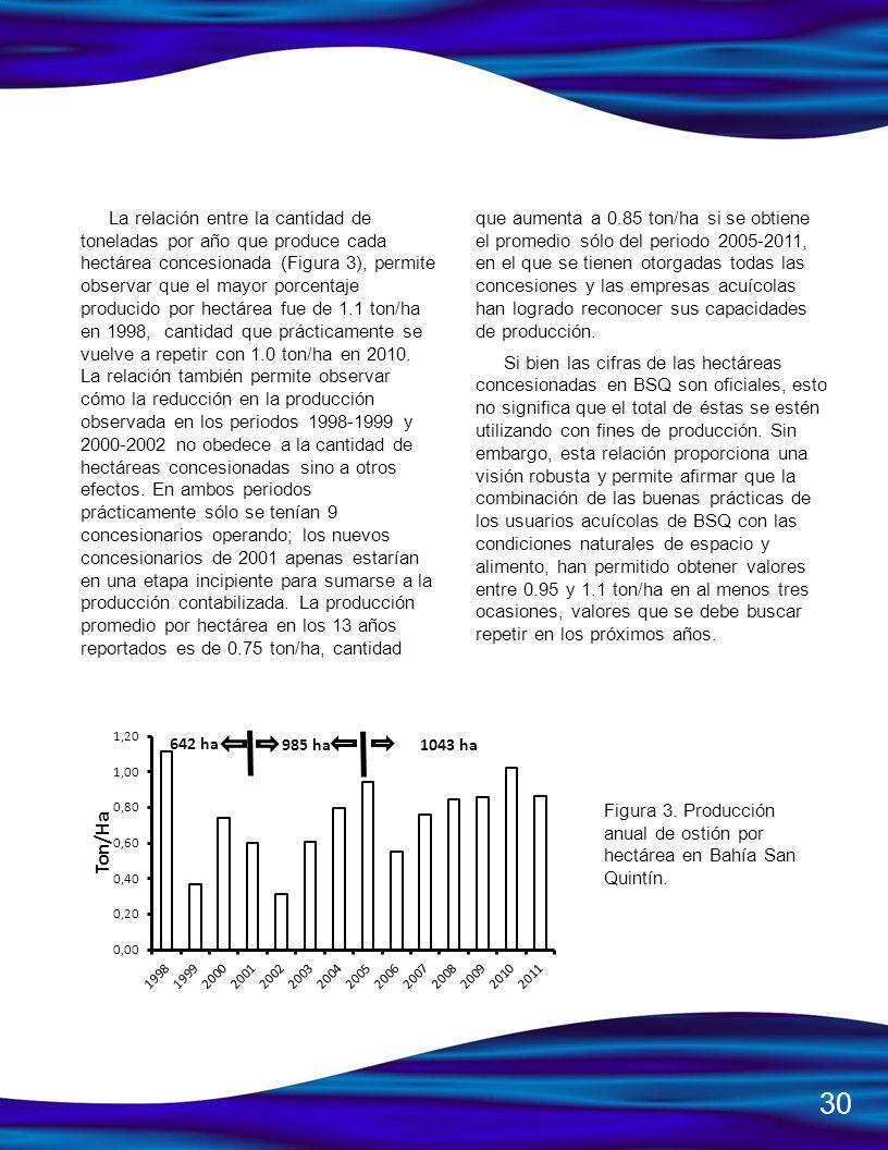 La relación entre la cantidad de toneladas por año que produce cada hectárea concesionada (Figura 3), permite observar que el mayor porcentaje producido por hectárea fue de 1.1 ton/ha en 1998, cantidad que prácticamente se vuelve a repetir con 1.0 ton/ha en 2010. La relación también permite observar cómo la reducción en la producción observada en los periodos 1998-1999 y 2000-2002 no obedece a la cantidad de hectáreas concesionadas sino a otros efectos. En ambos periodos prácticamente sólo se tenían 9 concesionarios operando; los nuevos concesionarios de 2001 apenas estarían en una etapa incipiente para sumarse a la producción contabilizada. La producción promedio por hectárea en los 13 años reportados es de 0.75 ton/ha, cantidad