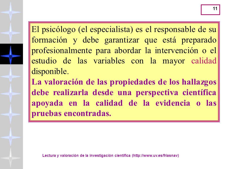 El psicólogo (el especialista) es el responsable de su formación y debe garantizar que está preparado profesionalmente para abordar la intervención o el estudio de las variables con la mayor calidad disponible.