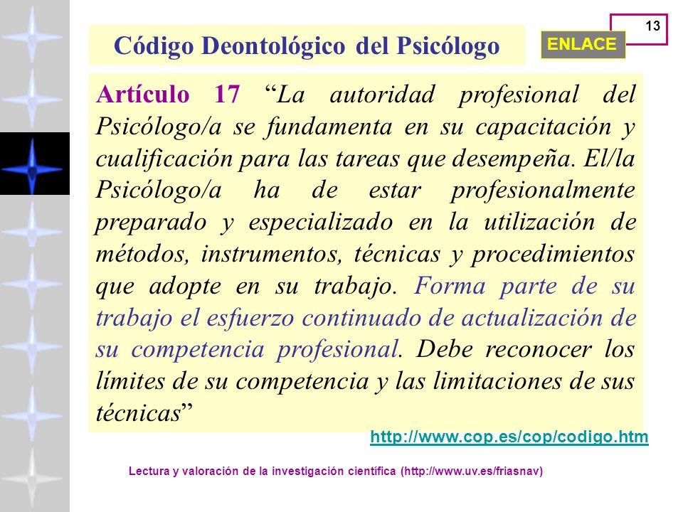 Código Deontológico del Psicólogo