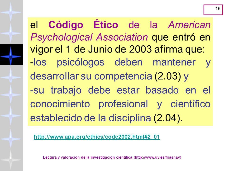 -los psicólogos deben mantener y desarrollar su competencia (2.03) y