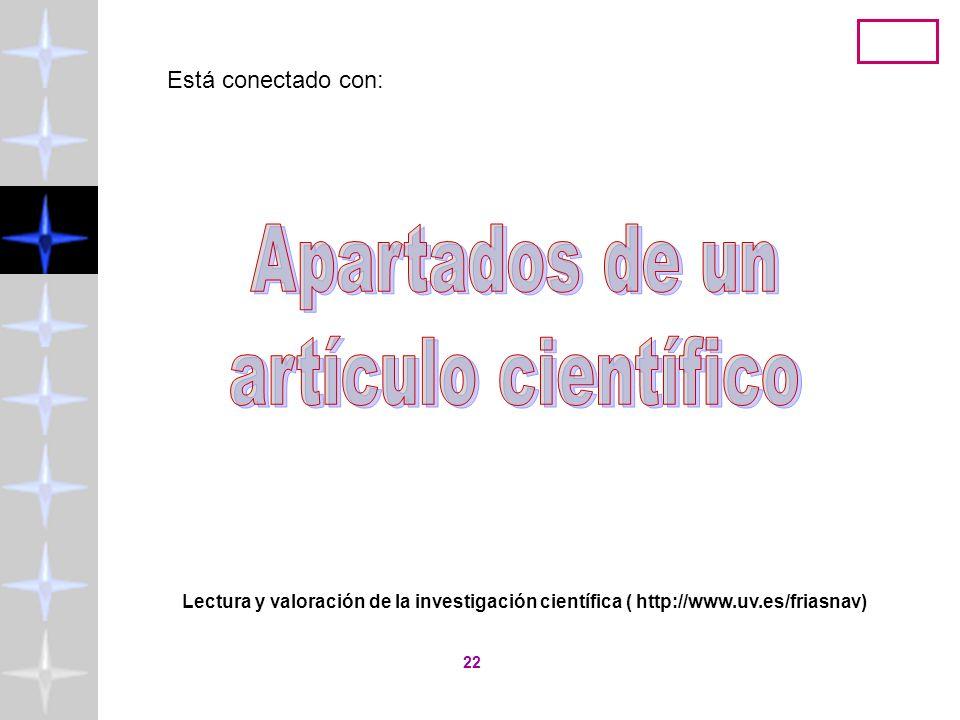 Apartados de un artículo científico Está conectado con: