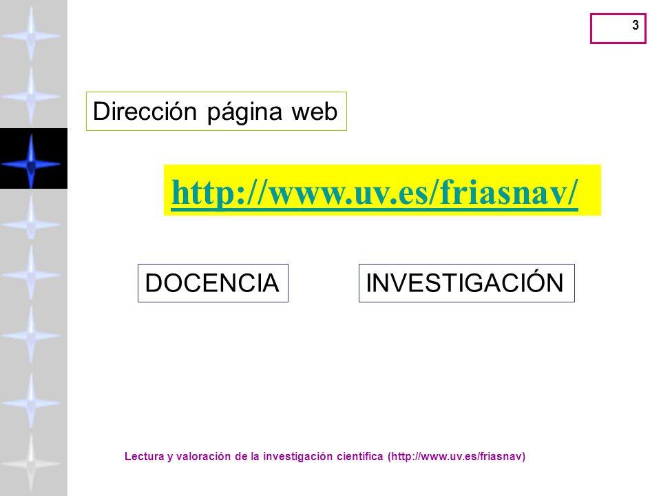 http://www.uv.es/friasnav/ Dirección página web DOCENCIA INVESTIGACIÓN
