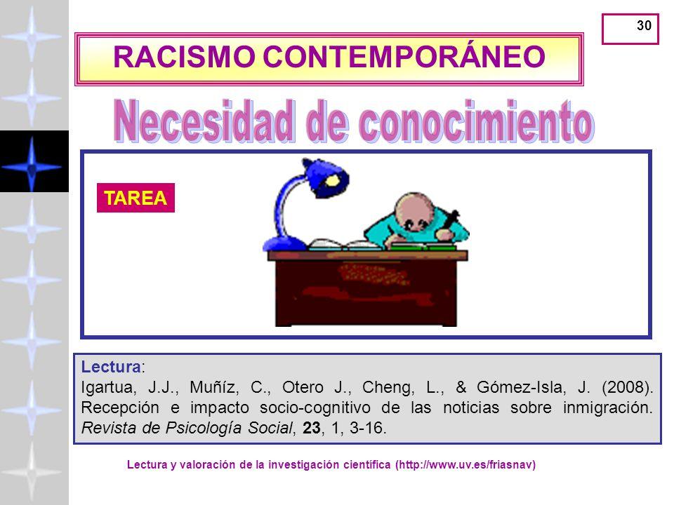 RACISMO CONTEMPORÁNEO Necesidad de conocimiento