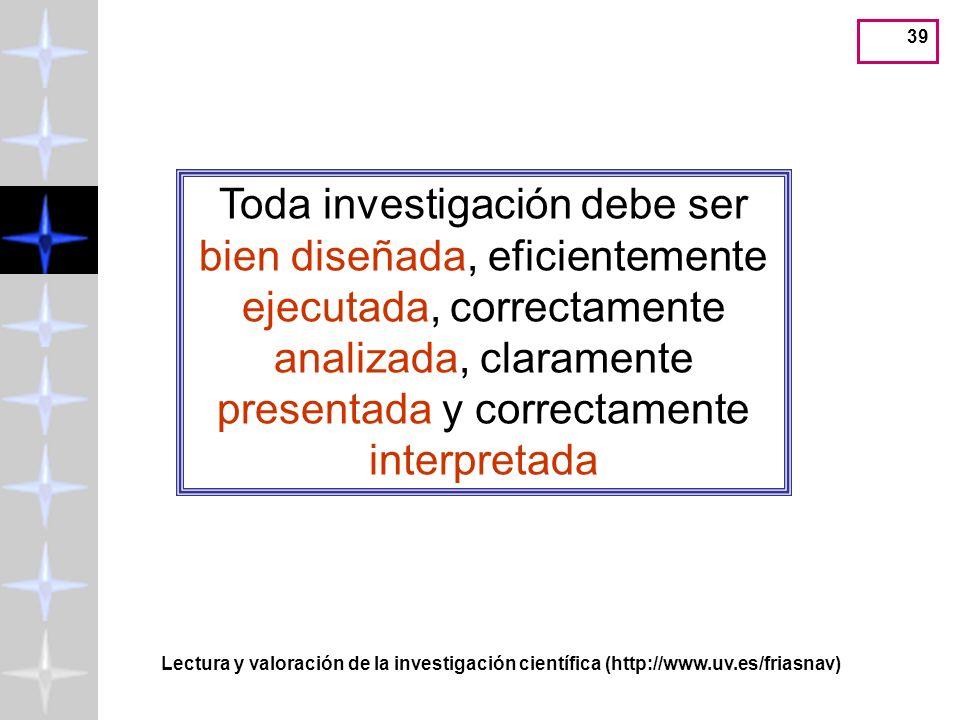Toda investigación debe ser bien diseñada, eficientemente ejecutada, correctamente analizada, claramente presentada y correctamente interpretada