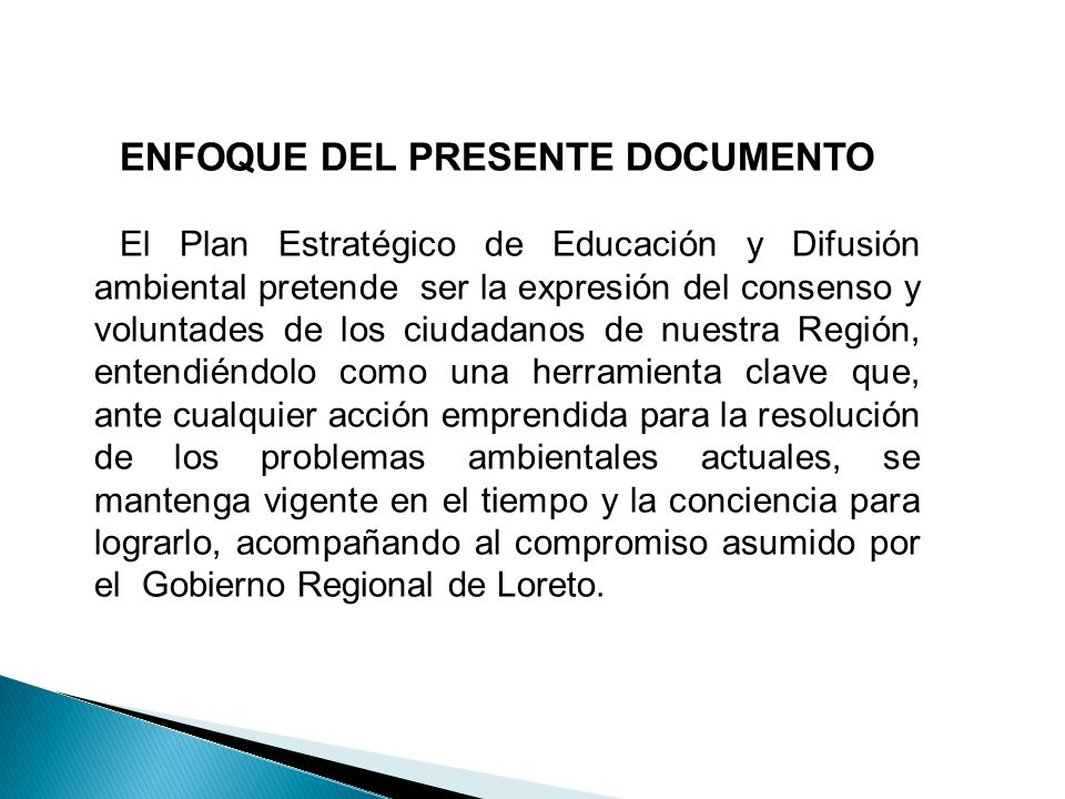 ENFOQUE DEL PRESENTE DOCUMENTO