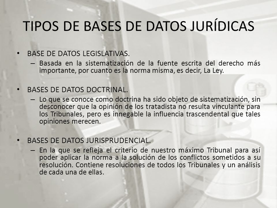 TIPOS DE BASES DE DATOS JURÍDICAS