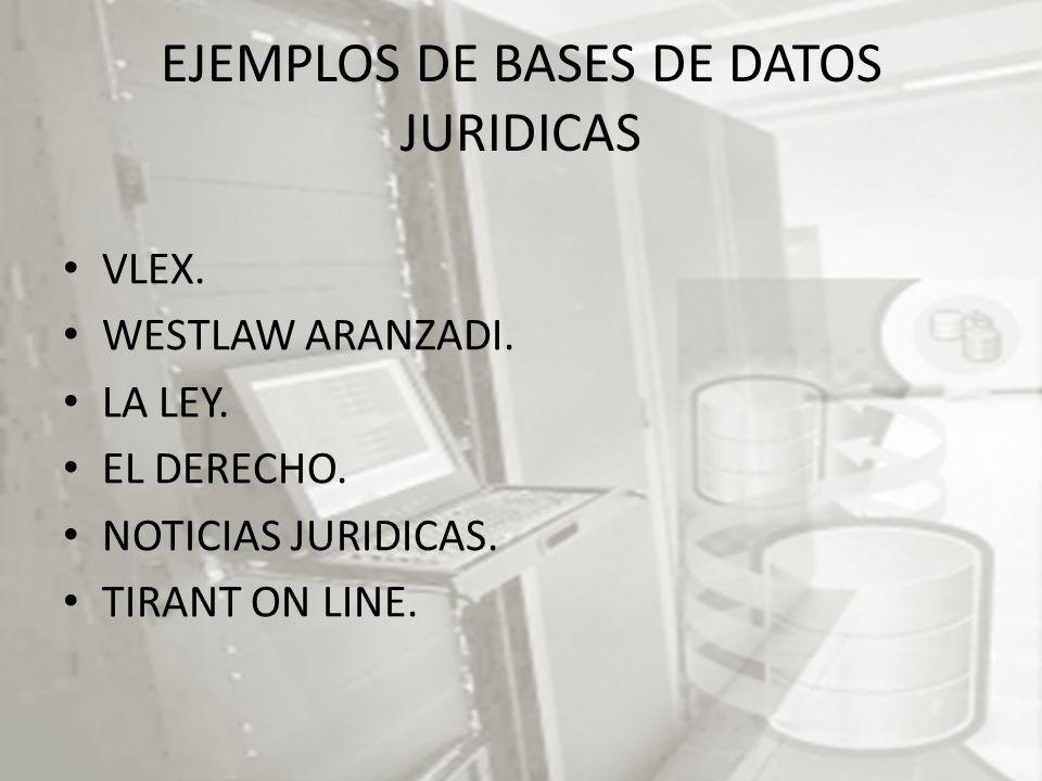 EJEMPLOS DE BASES DE DATOS JURIDICAS