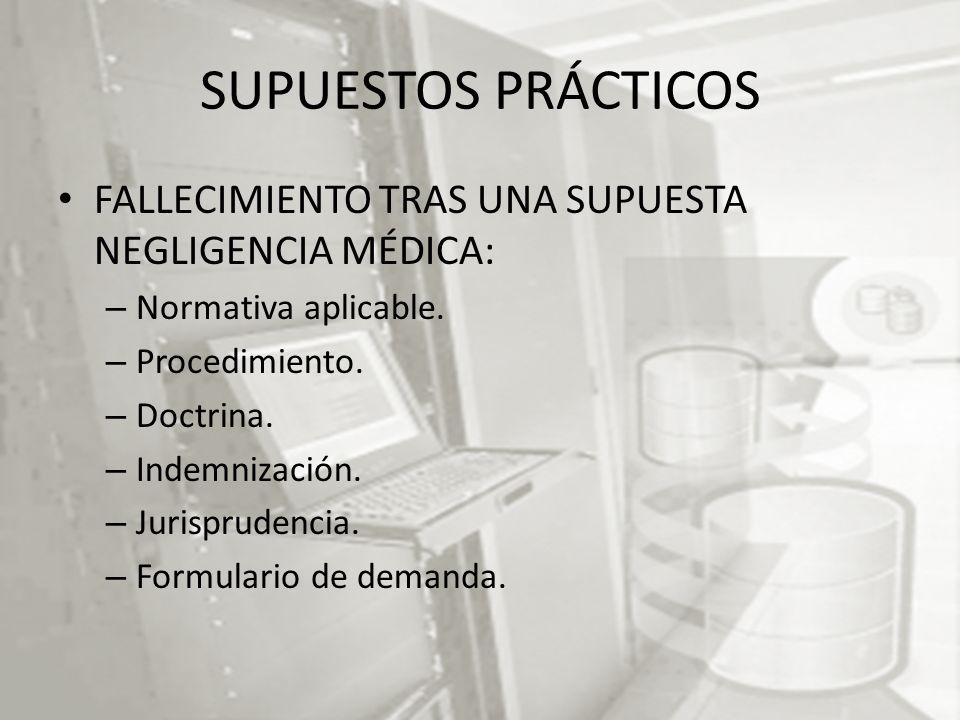SUPUESTOS PRÁCTICOS FALLECIMIENTO TRAS UNA SUPUESTA NEGLIGENCIA MÉDICA: Normativa aplicable. Procedimiento.