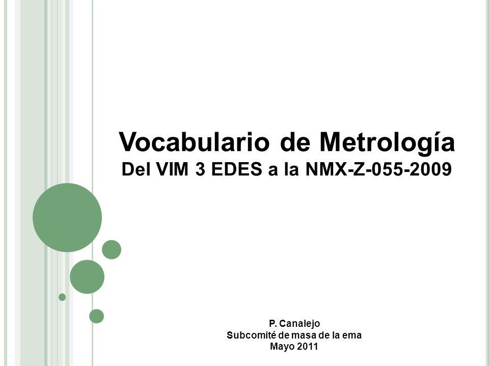 Del VIM 3 EDES a la NMX-Z-055-2009 Subcomité de masa de la ema