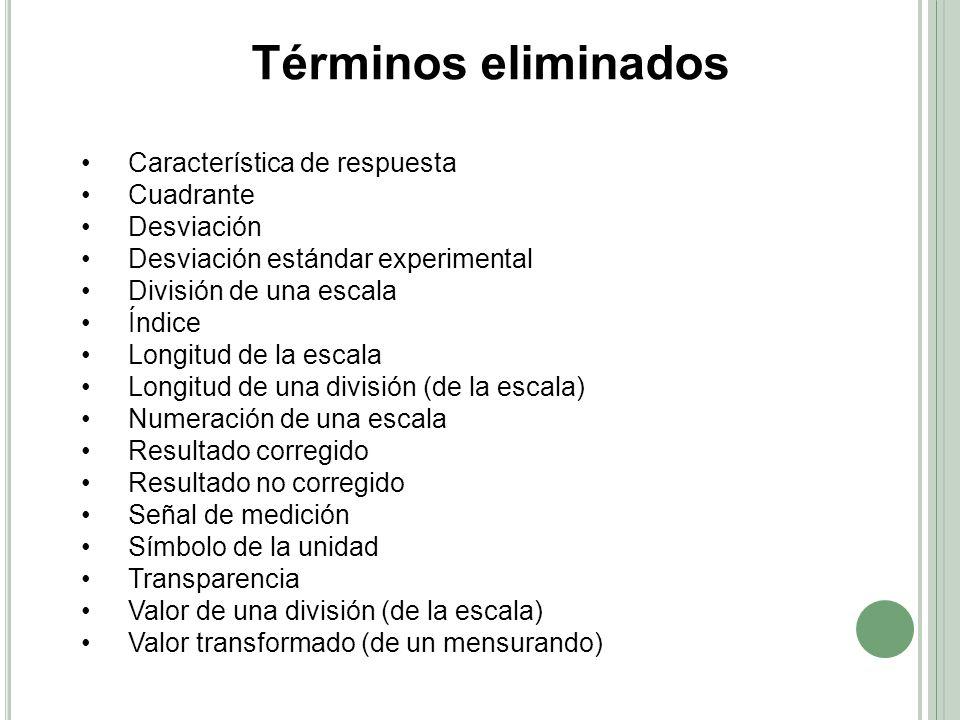 Términos eliminados • Característica de respuesta • Cuadrante
