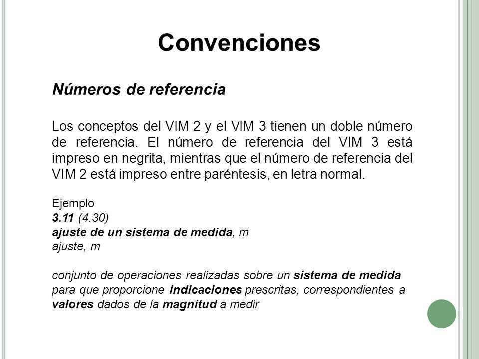 Convenciones Números de referencia