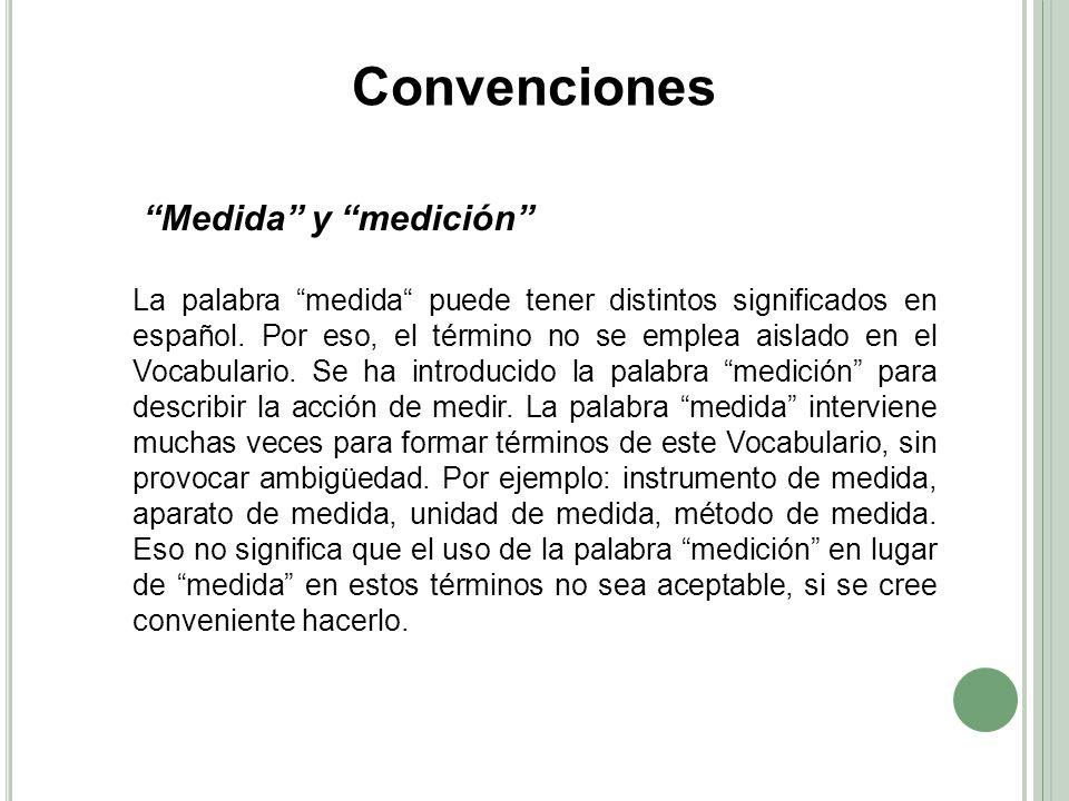 Convenciones Medida y medición