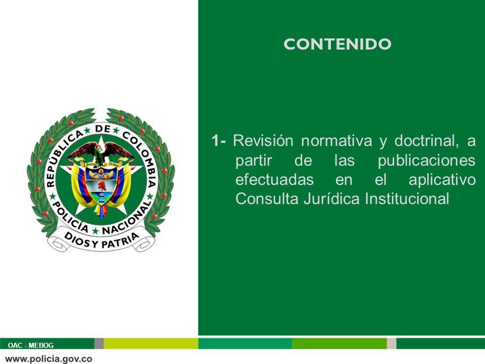 CONTENIDO 1- Revisión normativa y doctrinal, a partir de las publicaciones efectuadas en el aplicativo Consulta Jurídica Institucional.